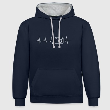 Camera photographer heartbeat gift - Contrast Colour Hoodie