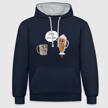 Coffee latte caffeine sorry late gift - Contrast Colour Hoodie