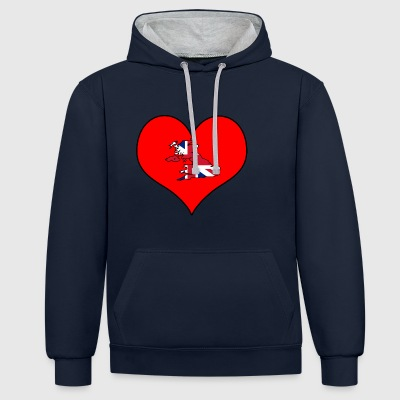 Love Land Europa EU England UK GB - Kontrast-Hoodie