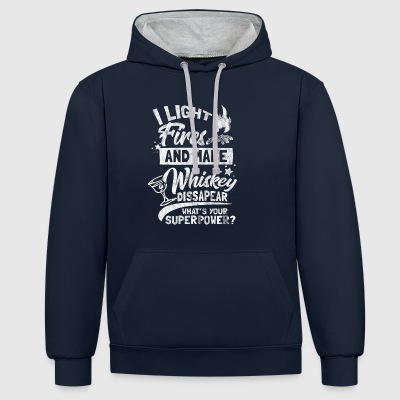 Shirt for camper who love whiskey - Contrast Colour Hoodie