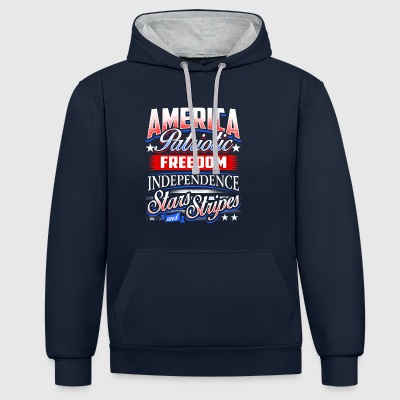 America Patriotic Freedom Independence Gifts - Contrast Colour Hoodie