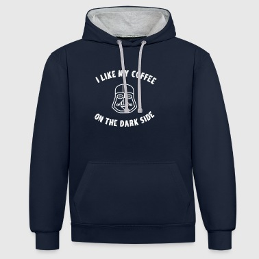 coffee dark side father mask father space fun nerd - Contrast Colour Hoodie