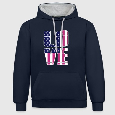 USA Flag - Love - Contrast Colour Hoodie