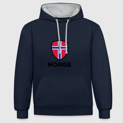 261 norway national flag - Contrast Colour Hoodie
