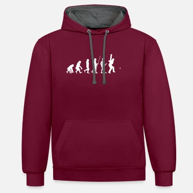 Cricket Evolution to Cricket Player T-Shirt Gift - Contrast Colour Hoodie