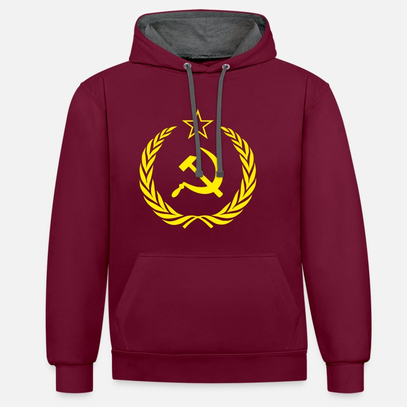 Communist Hoodies & Sweatshirts - Flag Soviet Union Cold War - Unisex Contrast Hoodie burgundy/charcoal