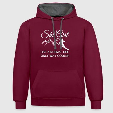 Ski fille comme une fille normale seulement Way Cooler - Sweat-shirt contraste