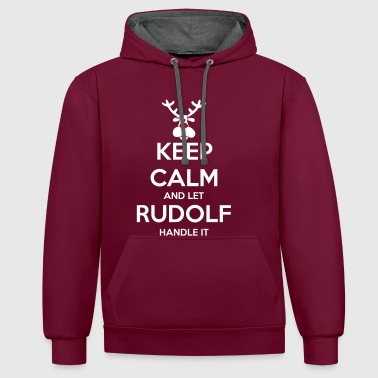 keep_calm_and_let_rudolf_handle_it_2c_bi - Kontrast-Hoodie