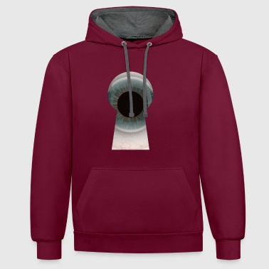 The eye in the keyhole - Contrast Colour Hoodie
