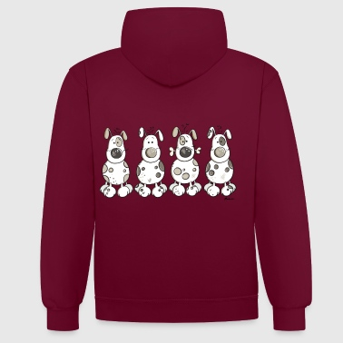 Dog Lover Four Happy Dogs - Contrast Colour Hoodie