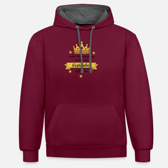 Birthday Hoodies & Sweatshirts - Gift at Birth - Unisex Contrast Hoodie burgundy/charcoal