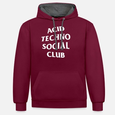 Techno Acid Techno Social Club - Unisex Contrast Hoodie
