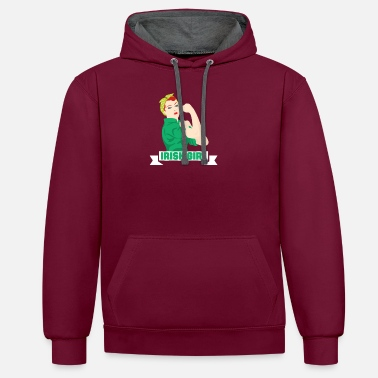 Funny Irish Girl St. Patricks Holiday Green - Contrast Colour Hoodie