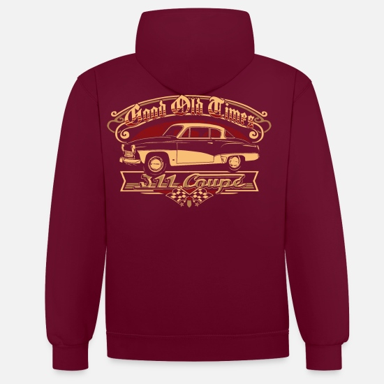 Bikes And Cars Collection V2 Hoodies & Sweatshirts - Wartburg 311 Coupe - Unisex Contrast Hoodie burgundy/charcoal