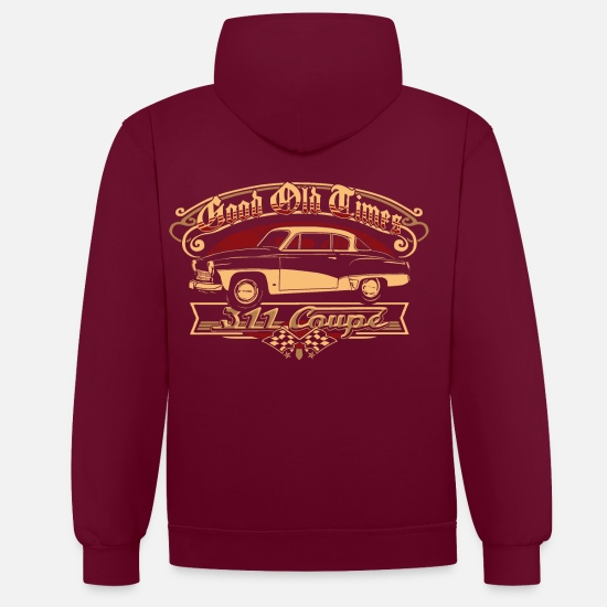 Bikes And Cars Collection V2 Sweaters & hoodies - Wartburg 311 Coupe - Unisex contrast hoodie wijnrood/antraciet