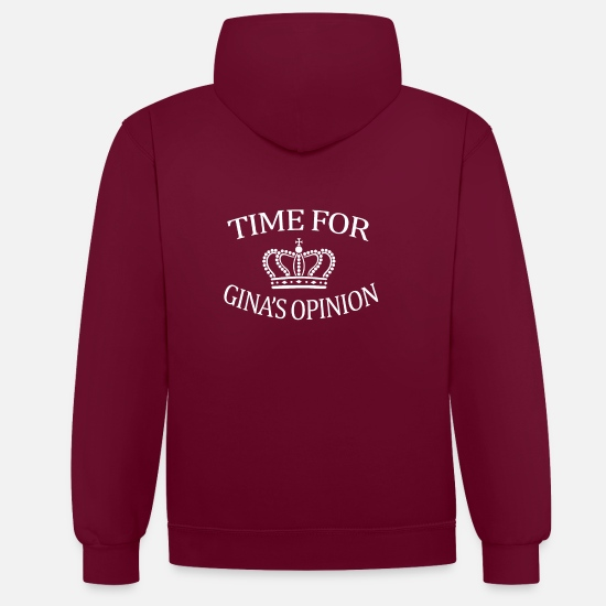 Brooklyn Hoodies & Sweatshirts - Times for Gina's Opinion Brooklyn Nine Nine B99 Tea - Unisex Contrast Hoodie burgundy/charcoal