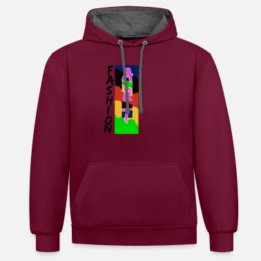 Fashion Fashionable Abstract Fashion Art Pink - Unisex Contrast Hoodie