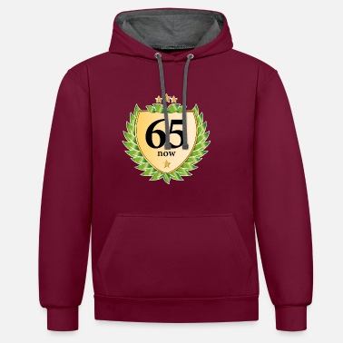 65th birthday crest laurel wreath golden stars - Unisex Contrast Hoodie