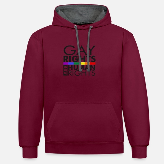 Gay Pride Hoodies & Sweatshirts - Gay Rights Are Human Rights - Unisex Contrast Hoodie burgundy/charcoal
