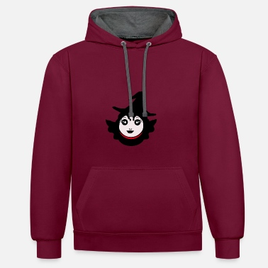 Flying Witch, Kawaii - Unisex Contrast Hoodie