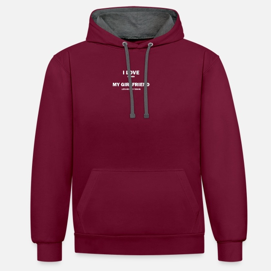 Tennis Pullover & Hoodies - I Love It When My Girlfriend… Tennis - Unisex Hoodie zweifarbig Weinrot/anthrazit