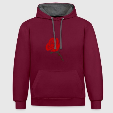 Rose design - Contrast Colour Hoodie
