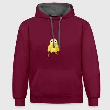 poorly chicken - Contrast Colour Hoodie