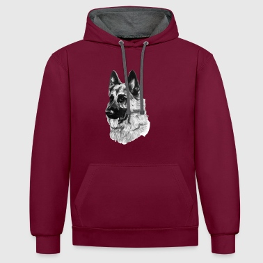 German shepherd - Contrast Colour Hoodie