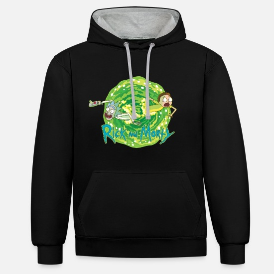 Officialbrands Sweat-shirts - Rick Et Morty Voyages Interdimensionnels - Sweat à capuche contrasté unisexe noir/gris chiné