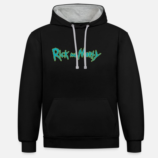 Cool Hoodies & Sweatshirts - Rick And Morty Title Typography - Unisex Contrast Hoodie black/heather grey
