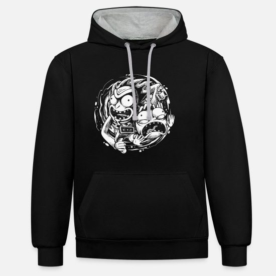 Cool Hoodies & Sweatshirts - Rick And Morty Time Warp Travels - Unisex Contrast Hoodie black/heather grey