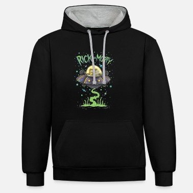 Rick Rick And Morty Spaceship Illustration - Unisex Contrast Hoodie