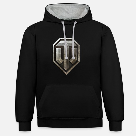 World Of Tanks Pullover & Hoodies - World of Tanks Logo - Unisex Hoodie zweifarbig Schwarz/Grau meliert