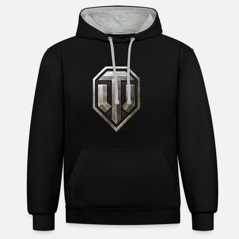Officialbrands Pullover & Hoodies - World of Tanks Logo - Unisex Hoodie zweifarbig Schwarz/Grau meliert