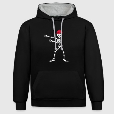 Floss dance flossing skeleton baseball cap - Contrast Colour Hoodie