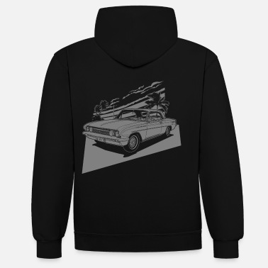 Collection vintage car neg. - Unisex Hoodie zweifarbig