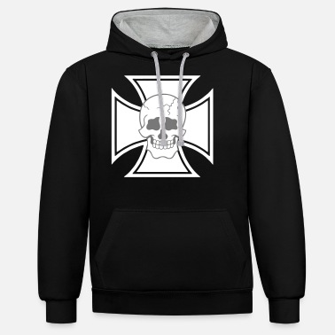 Cross Iron cross SKULL skull - Unisex Contrast Hoodie