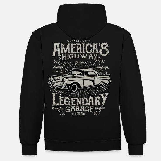 Bikes And Cars Collection V2 Hoodies & Sweatshirts - America's Highway - Unisex Contrast Hoodie black/heather grey