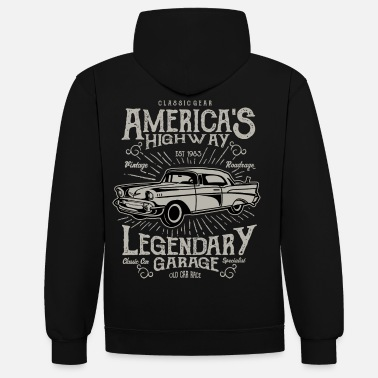Bikes And Cars Collection America's Highway - Unisex kontrast hættetrøje