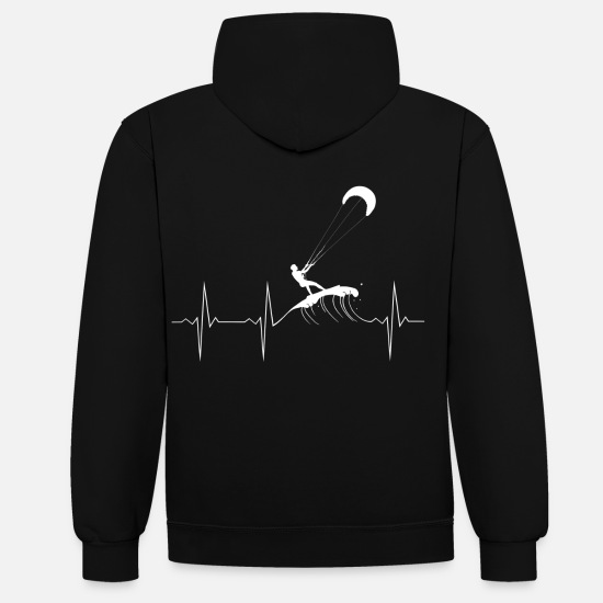 Birthday Hoodies & Sweatshirts - EKG Heartbeat Heartbeat Kitesurfing - Unisex Contrast Hoodie black/heather grey