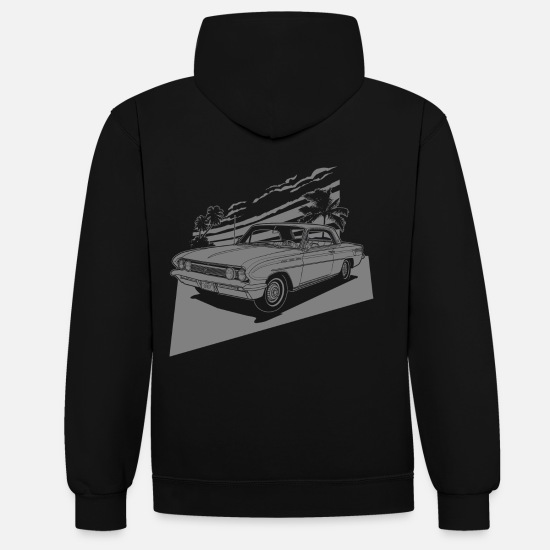 Bikes And Cars Collection V2 Sweat-shirts - vintage car neg. - Sweat à capuche contrasté unisexe noir/gris chiné