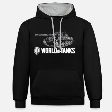 Wot16 World of Tanks - Outline Jagdtiger - Unisex Hoodie zweifarbig