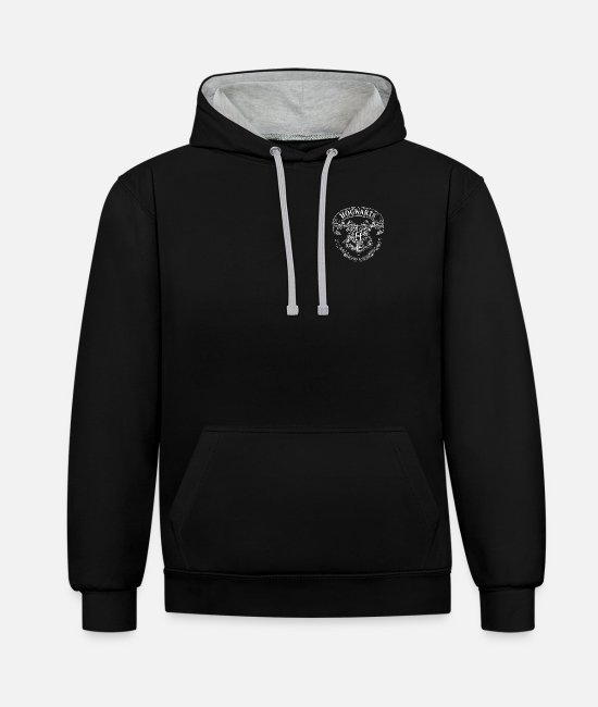 Official License Sweatshirts & hættetrøjer - Harry Potter Coat of Arms of Hogwarts small - Unisex kontrast hættetrøje sort/gråmeleret