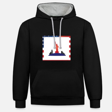 American freedom associated with USA flag17 - Unisex Contrast Hoodie