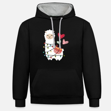 Baby Girl Chain Alpaca Lama love fluffy with light bulb and heart - Unisex Contrast Hoodie