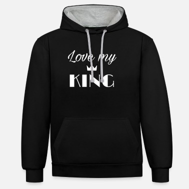 Love my King - Sweat à capuche contrasté unisexe