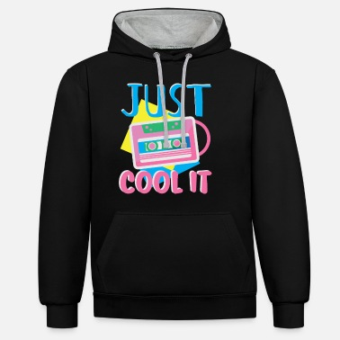Achtziger JUST COOL IT 80s Retro Achtziger Eighties MC Tape - Unisex Hoodie zweifarbig