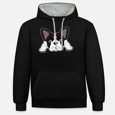 Boston Terrier - Dark Design Dog Ears Sweet - Unisex Contrast Hoodie