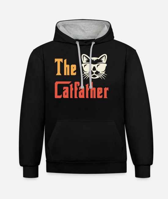 Kitty Cat Hoodies & Sweatshirts - The Catfather - Unisex Contrast Hoodie black/heather grey