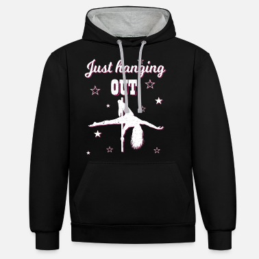 Pole Dance Pole dance pole dance funny just hang out chill - Unisex Contrast Hoodie